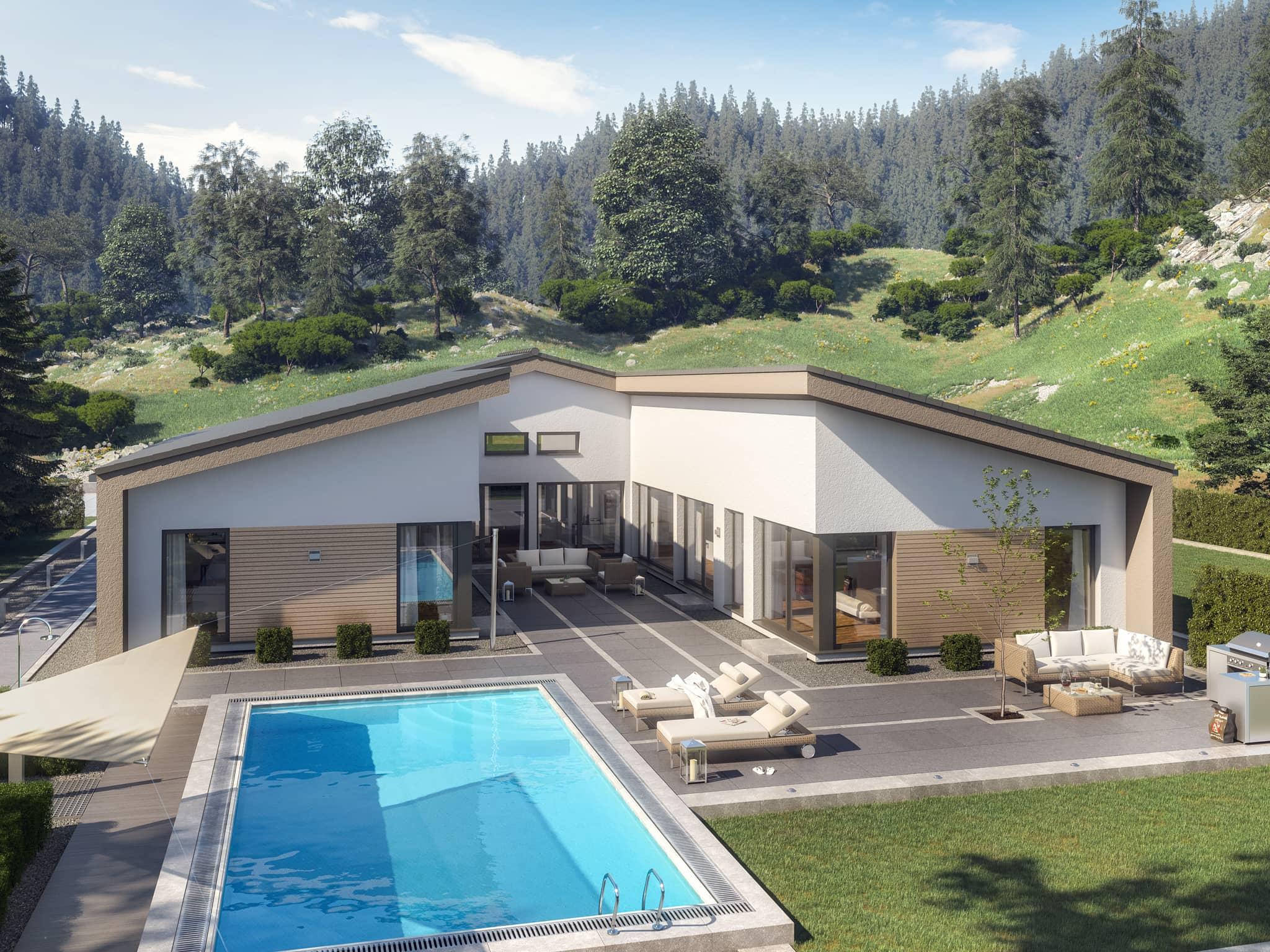 Bungalow AMBIENCE 209 SD mit Satteldach von Bien Zenker Fertighaus - Winkelbungalow Haus Ideen auf HausbauDirekt.de