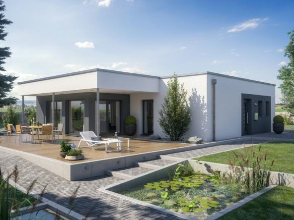 Bungalow AMBIENCE 88 V4 Fertighaus Flachdach Bien Zenker - Haus bauen Ideen HausbauDirekt.de