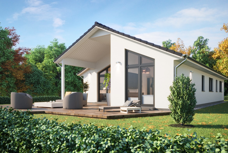 Fertighaus Bungalow modern mit Satteldach & Terrasse, 4 Zimmer Grundriss, 130 qm - ScanHaus Marlow Haus SH 147 B - HausbauDirekt.de