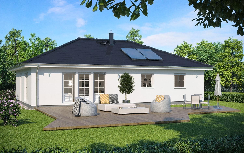 Bungalow barrierefrei mit Walmdach & Sprossenfenster im Landhausstil - Fertighaus schlüsselfertig bauen Ideen ScanHaus Marlow Haus SH 105 B - HausbauDirekt.de