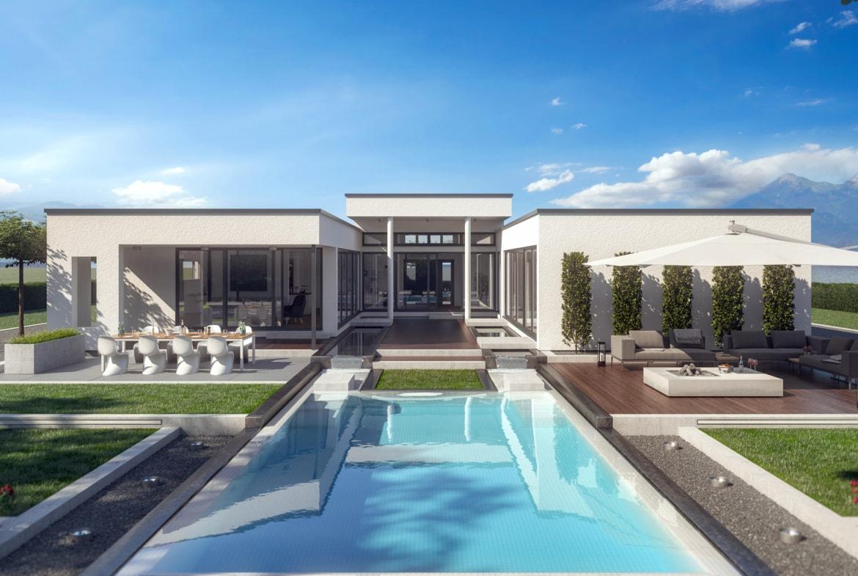 Fertighaus Bungalow Flachdach AMBIENCE 209 FD Bien Zenker - Haus bauen Ideen HausbauDirekt.de