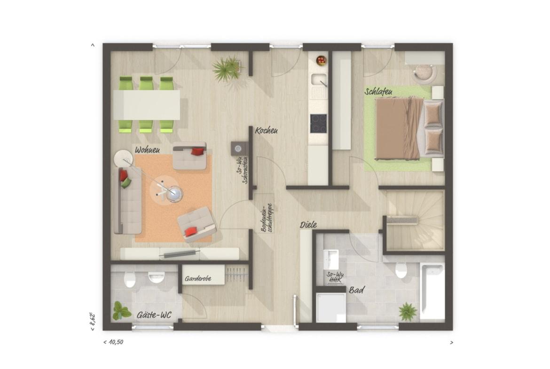 Bungalow Haus Grundriss mit Keller, 2 Zimmer, 77 qm - Massivhaus bauen Ideen Town Country Haus Bungalow 78 - HausbauDirekt.de