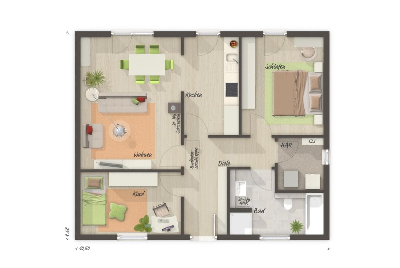 Bungalow Haus Grundriss ebenerdig, 3 Zimmer, 77 qm - Massivhaus bauen Ideen Town Country Haus Bungalow 78 - HausbauDirekt.de