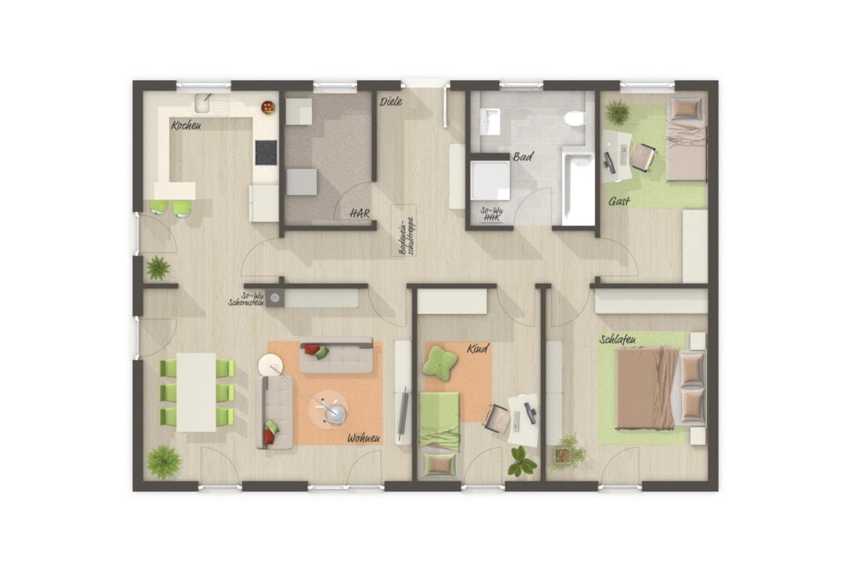 Bungalow Haus Grundriss rechteckig mit Walmdach Architektur, 4 Zimmer, 108 qm - Haus Pläne Bungalow 110 von Town Country Haus - HausbauDirekt.de