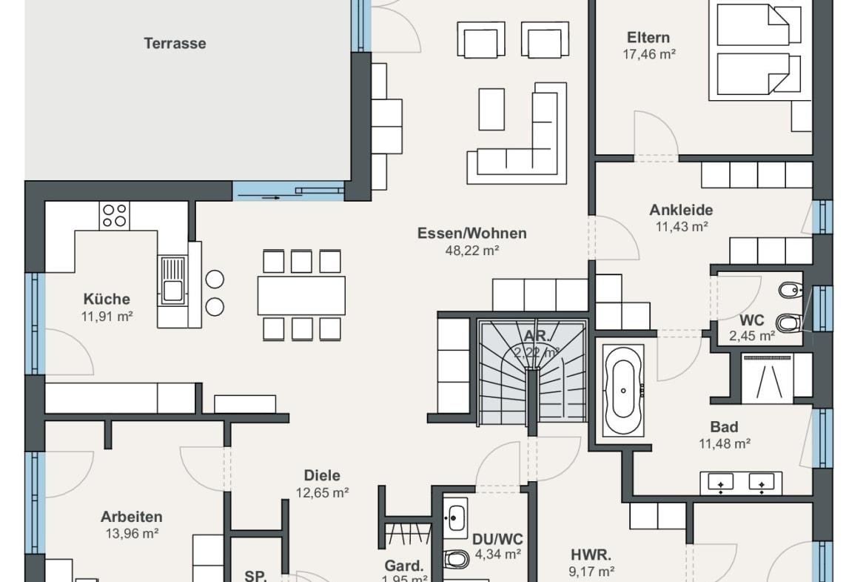 Winkelbungalow Grundriss Erdgeschoss mit Treppe - Haus Ideen Fertighaus Bungalow WeberHaus - HausbauDirekt.de