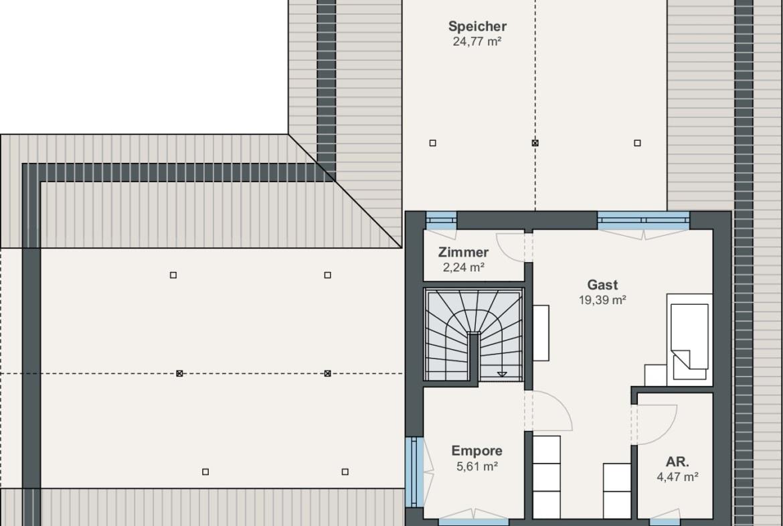 Winkelbungalow Grundriss Obergeschoss mit ausgebautem Dach - Haus Ideen Fertighaus Bungalow WeberHaus - HausbauDirekt.de