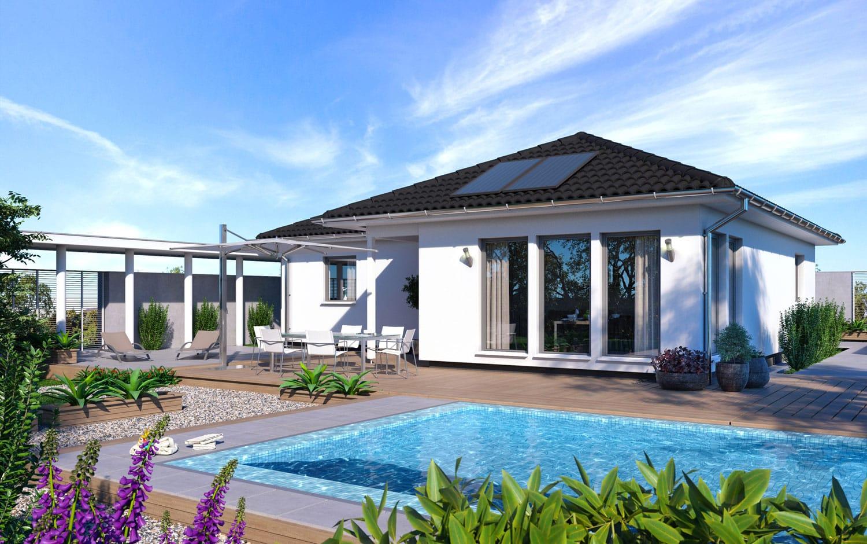 Bungalow Haus ebenerdig mit Walmdach Architektur, 4 Zimmer, 95 qm - Fertighaus schlüsselfertig bauen Ideen Winkelgungalow SH 105 WB von ScanHaus Marlow - HausbauDirekt.de