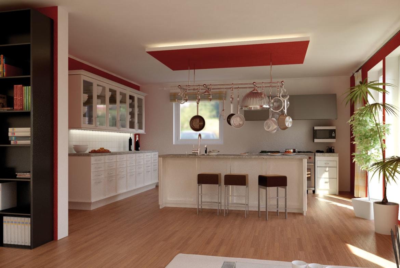 Bungalow Haus innen mit offener Küche & Kücheninsel mit Sitzgelegenheit - Inneneinrichtung Fertighaus Bungalow SH 105 WB von ScanHaus Marlow - HausbauDirekt.de