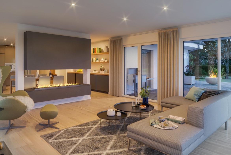 Bungalow Haus innen modern mit großem Kamin als Raumteiler - Ideen Inneneinrichtung Fertighaus Bungalow AMBIENCE 110 V3 von Bien Zenker - HausbauDirekt.de