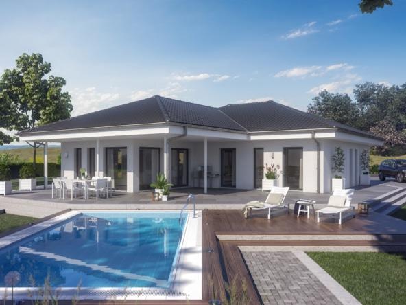Bungalow Haus modern mit Walmdach Architektur, Wintergarten Erker & große Terrasse mit Pool - Haus bauen Ideen Fertighaus Winkelbungalow AMBIENCE 110 V3 von Bien Zenker - HausbauDirekt.de