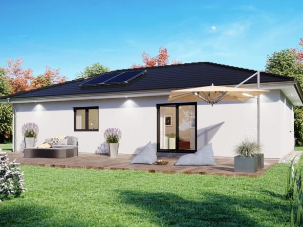 Bungalow Haus schmal mit Walmdach Architektur, 100 qm, 4 Zimmer - Haus bauen Ideen ScanHaus Marlow Fertighaus SH 100 B VARIANTE A - HausbauDirekt.de