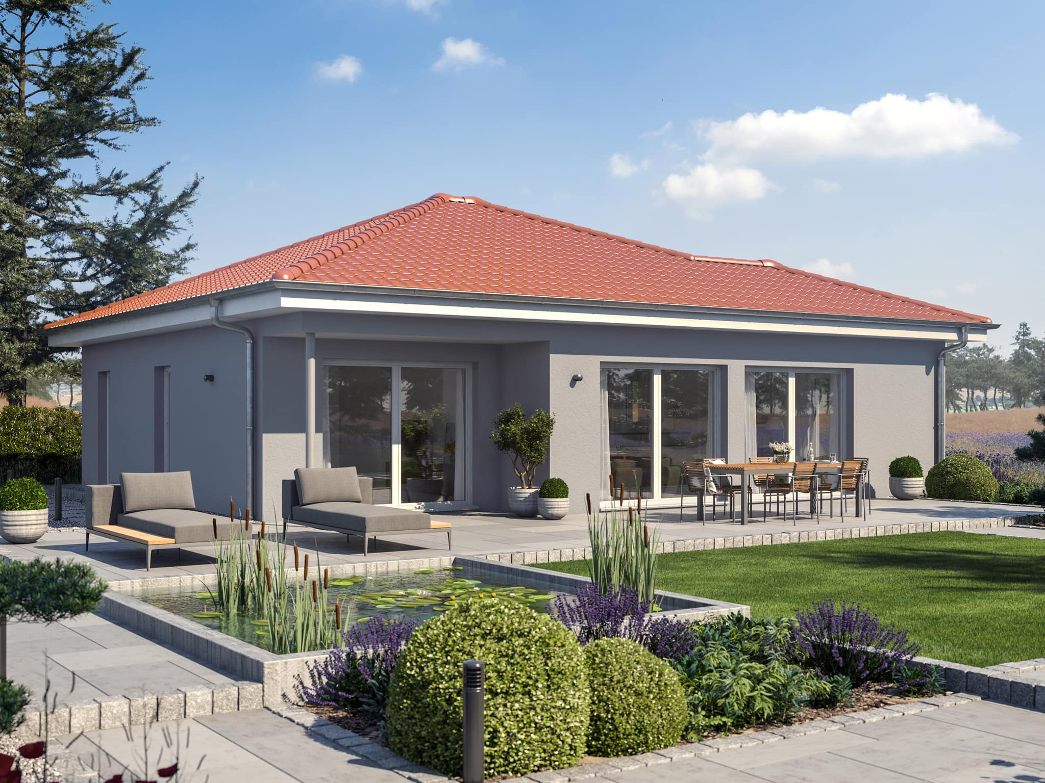 Fertighaus Bungalow Walmdach AMBIENCE 77 V3 Bien Zenker Einfamilienhaus - Haus bauen Ideen HausbauDirekt.de