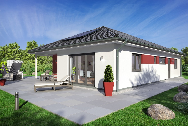 Bungalow Haus modern mit Walmdach Architektur, 5 Zimmer, 120 qm - Winkelbungalow bauen Ideen Fertighaus SH 127 B Variante A von ScanHaus Marlow - HausbauDirekt.de