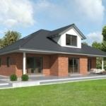 Fertighaus Bungalow mit ausgebautem Dachgeschoss, Walmdach & Klinker Fassade mit Erker - GUSSEK HAUS Mayenne - HausbauDirekt.de