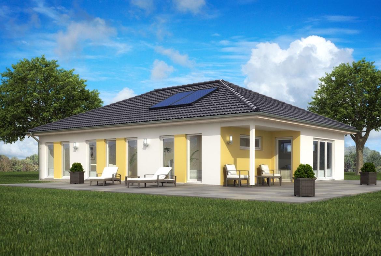 Bungalow Haus modern mit Walmdach Architektur & Erker Anbau, 4 Zimmer, 120 qm - Fertighaus schlüsselfertig bauen Ideen ScanHaus Marlow Fertighaus SH 127 B Variante B - HausbauDirekt.de