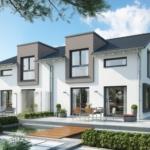 Doppelhaus modern mit Satteldach, 4 Zimmer Grundriss, 120 qm - Fertighaus Bien Zenker CELEBRATION 122 V2 L - HausbauDirekt.de