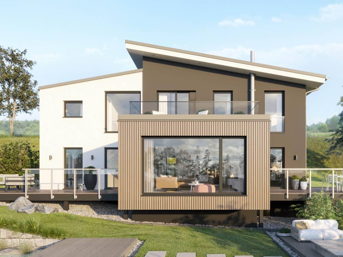Einfamilienhaus modern mit versetztem Satteldach, Galerie & Erker, 5 Zimmer Grundriss, 200 qm - Fertighaus Bien-Zenker CONCEPT-M 170 Villingen-Schwenningen - HausbauDirekt.de