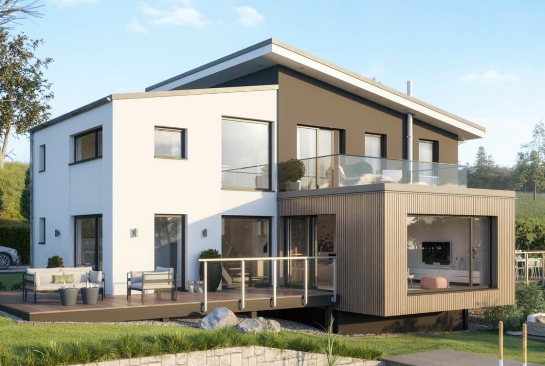 Einfamilienhaus modern mit versetztem Pultdach, Galerie & Erker, 5 Zimmer Grundriss, 200 qm - Fertighaus Bien-Zenker CONCEPT-M 170 Villingen-Schwenningen - HausbauDirekt.de