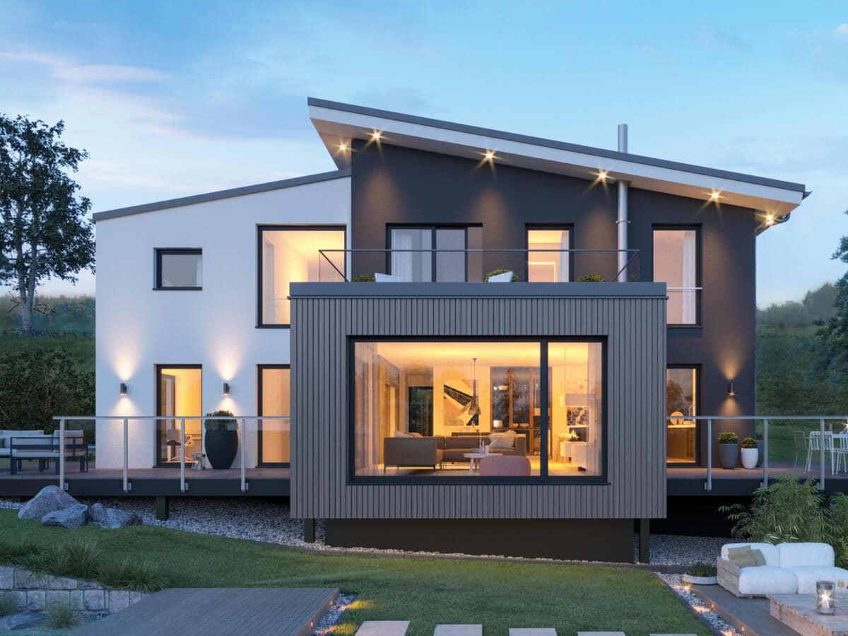 Modernes Haus mit versetztem Pultdach, Galerie & Erker, 5 Zimmer Grundriss, 200 qm - Fertighaus Bien-Zenker CONCEPT-M 170 Villingen-Schwenningen - HausbauDirekt.de