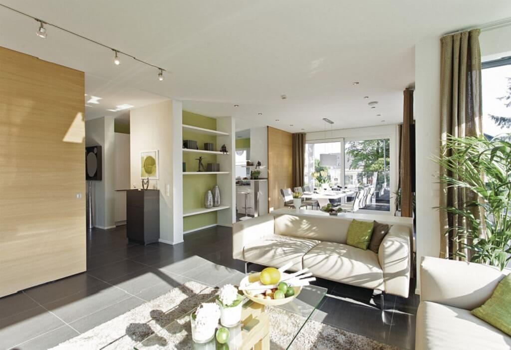 Offenes Wohn-Esszimmer - Ideen Inneneinrichtung Stadtvilla WeberHaus Fertighaus City-Life Haus 250 - HausbauDirekt.de
