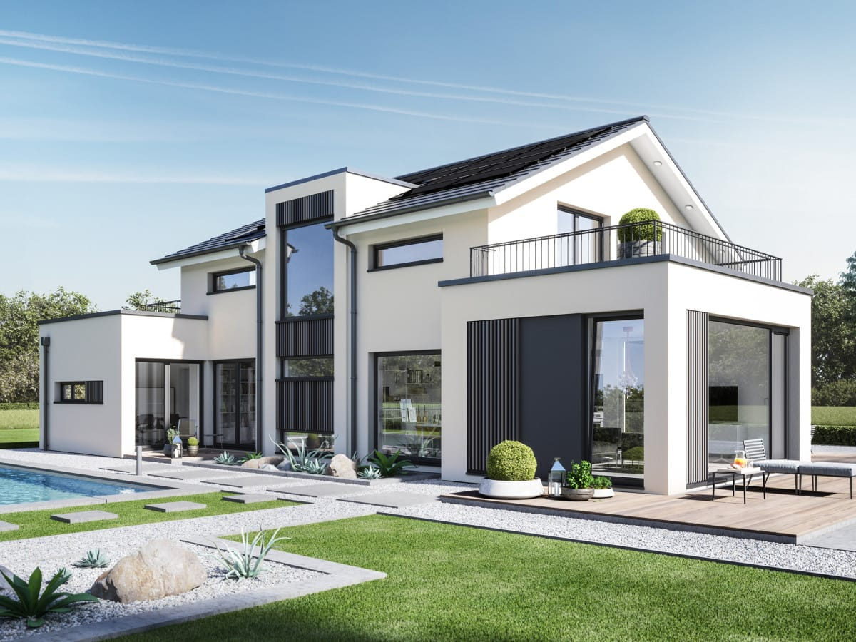 Modernes Haus Design mit Satteldach, Erker, Balkon & Zwerchgiebel - Einfamilienhaus bauen Ideen Bien Zenker Fertighaus CONCEPT-M 154 Hannover - HausbauDirekt.de