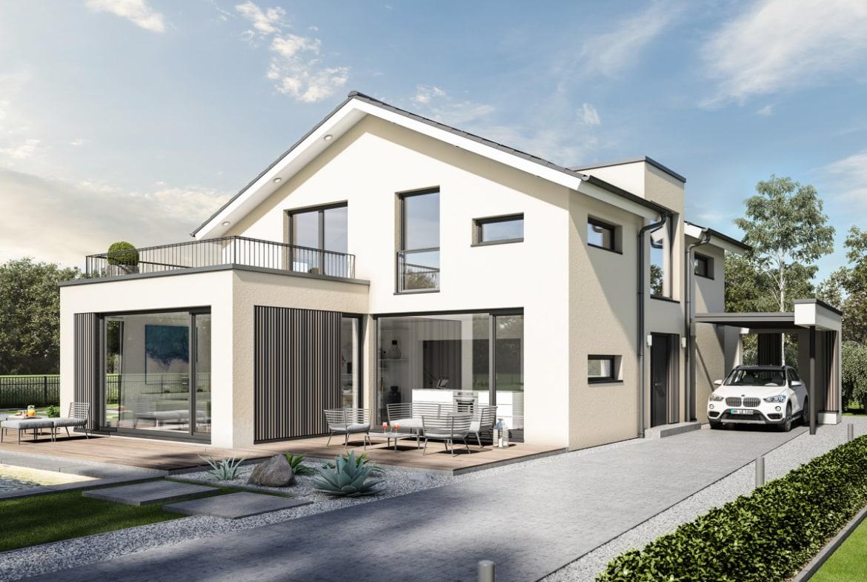 Einfamilienhaus modern mit Satteldach, Erker, Balkon & Carport, 6 Zimmer, 220 qm - Haus bauen Ideen Bien Zenker Fertighaus CONCEPT-M 154 Hannover - HausbauDirekt.de