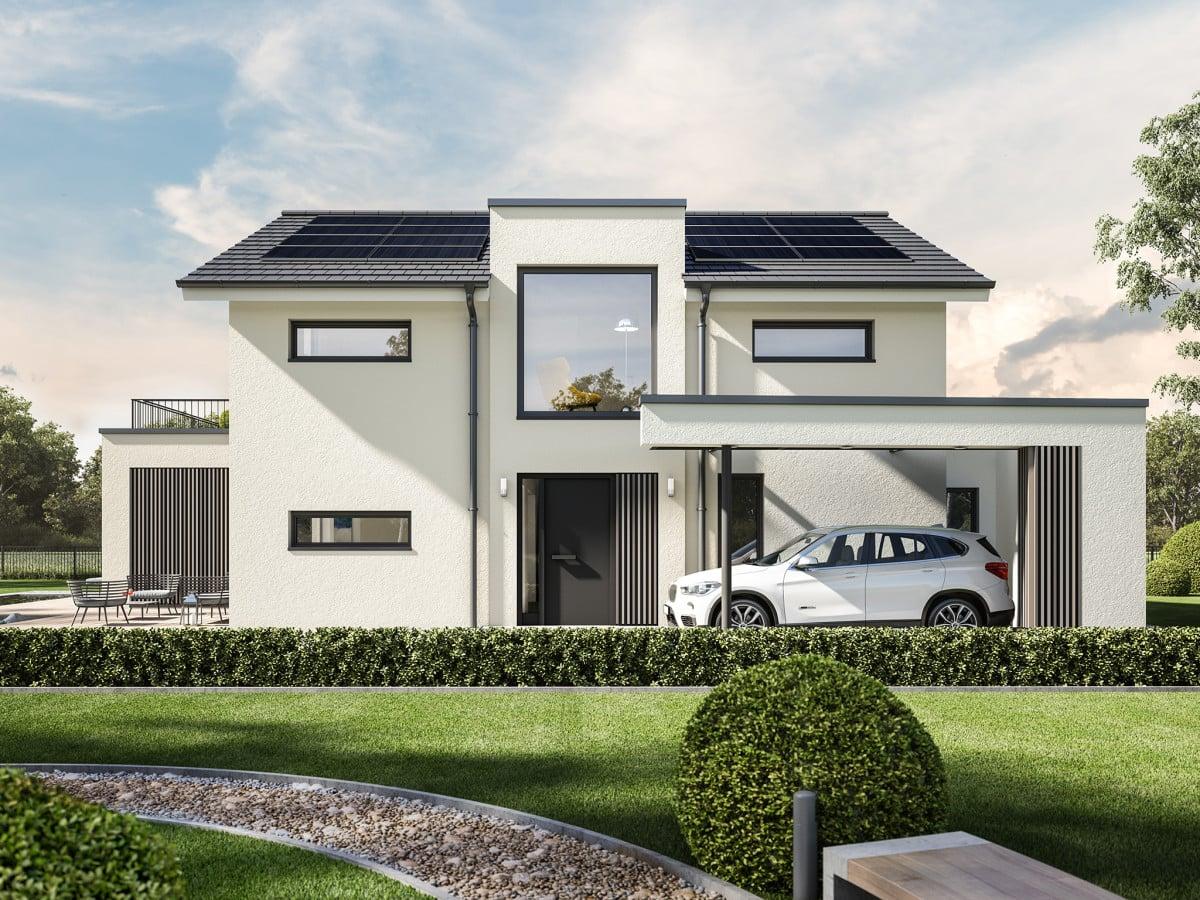 Modernes Einfamilienhaus mit Satteldach, Zwerchgiebel & Carport, 6 Zimmer, 220 qm - Haus bauen Ideen Bien Zenker Fertighaus CONCEPT-M 154 Hannover - HausbauDirekt.de