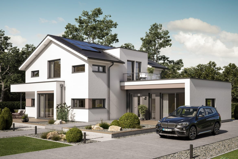 Fertighaus modern mit Satteldach & Büro Anbau - Einfamilienhaus bauen Ideen Bien Zenker Haus CONCEPT-M 166 Erfurt - HausbauDirekt.de