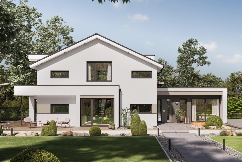 Modernes Satteldach Haus mit Büro Anbau, 5 Zimmer, 195 qm - Einfamilienhaus bauen Ideen Bien Zenker Fertighaus CONCEPT-M 166 Erfurt - HausbauDirekt.de