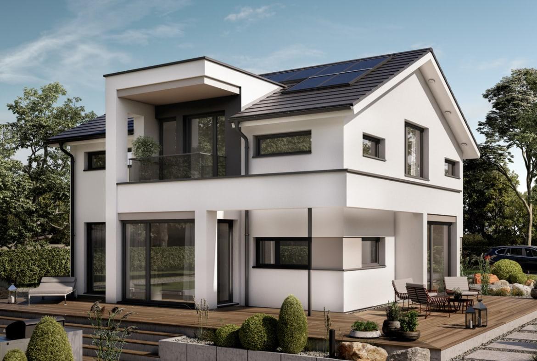 Einfamilienhaus Neubau modern mit Satteldach & Zwerchgiebel Erker mit Balkon, 5 Zimmer, 195 qm - Haus bauen Ideen Bien Zenker Fertighaus CONCEPT-M 166 Erfurt - HausbauDirekt.de