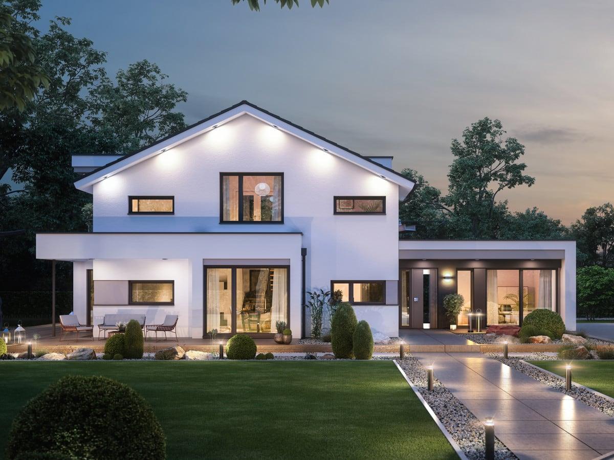 Modernes Haus Design mit Satteldach, Galerie & Büro Anbau, 5 Zimmer, 195 qm - Einfamilienhaus bauen Ideen Bien Zenker Fertighaus CONCEPT-M 166 Erfurt - HausbauDirekt.de