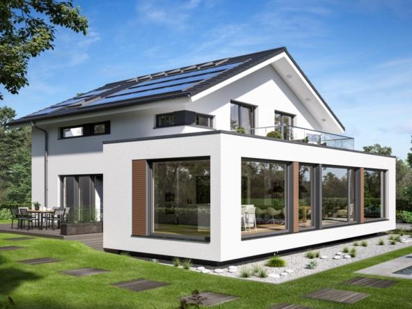Modernes Haus Design mit Satteldach, Erker & Balkon, 5 Zimmer, 200 qm - Bien Zenker Fertighaus CONCEPT-M 210 Günzburg - HausbauDirekt.de