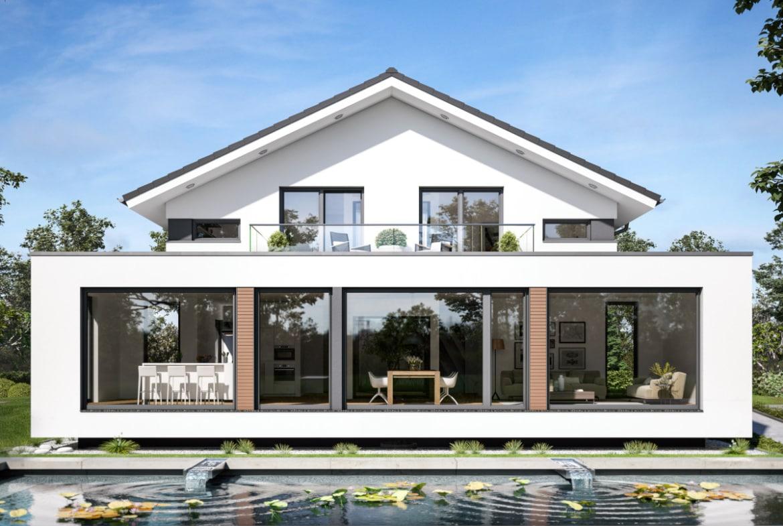 Design Haus modern mit Satteldach, Erker & Balkon, 5 Zimmer, 200 qm - Bien Zenker Fertighaus CONCEPT-M 210 Günzburg - HausbauDirekt.de