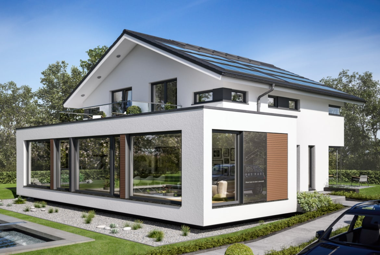 Einfamilienhaus modern mit Satteldach, Erker & Balkon, 5 Zimmer, 200 qm - Bien Zenker Fertighaus CONCEPT-M 210 Günzburg - HausbauDirekt.de