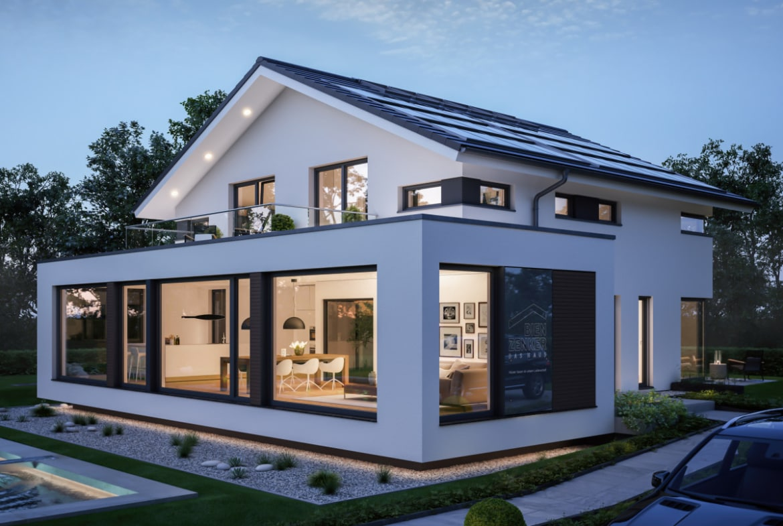 Einfamilienhaus Neubau modern mit Satteldach, Erker & Balkon, 5 Zimmer, 200 qm - Bien Zenker Fertighaus CONCEPT-M 210 Günzburg - HausbauDirekt.de