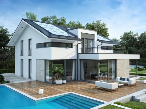 Modernes Haus Design mit Satteldach & Pool Terrasse, 6 Zimmer Grundriss, 260 qm - Fertighaus Bien Zenker CONCEPT-M 211 Mannheim - HausbauDirekt.de
