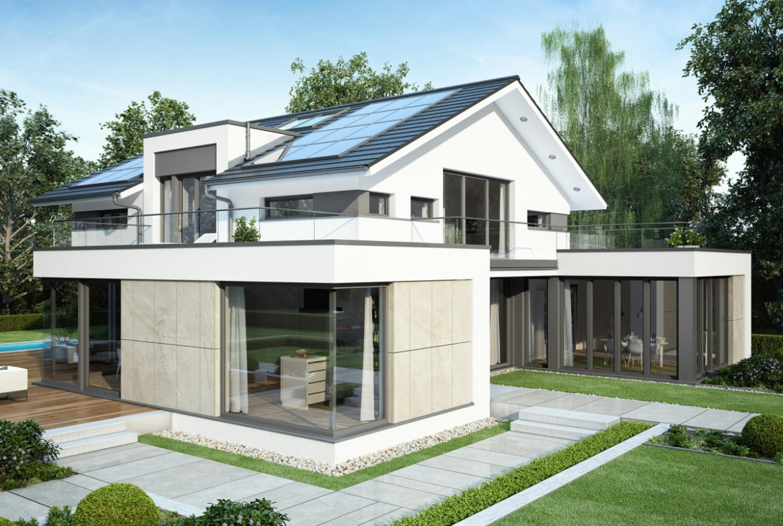 Einfamilienhaus modern mit Satteldach & Büro Anbau, 6 Zimmer Grundriss, 260 qm - Fertighaus Bien Zenker CONCEPT-M 211 Mannheim - HausbauDirekt.de