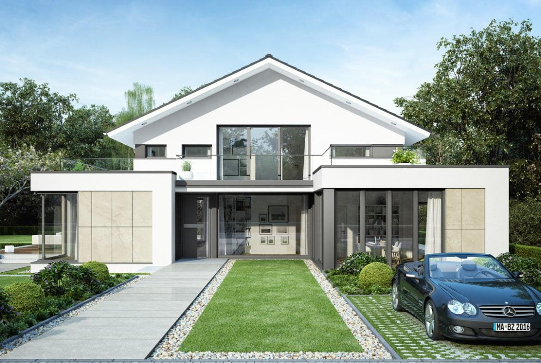 Einfamilienhaus Neubau modern mit Satteldach, Erker & Balkon, 6 Zimmer Grundriss, 260 qm - Fertighaus Bien Zenker CONCEPT-M 211 Mannheim - HausbauDirekt.de