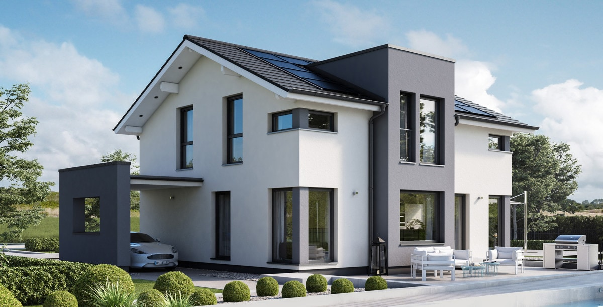 Fertighaus modern mit Satteldach, Carport & Zwerchgiebel - Haus bauen Ideen Bien-Zenker CONCEPT-M 167 Rheinbach - HausbauDirekt.de