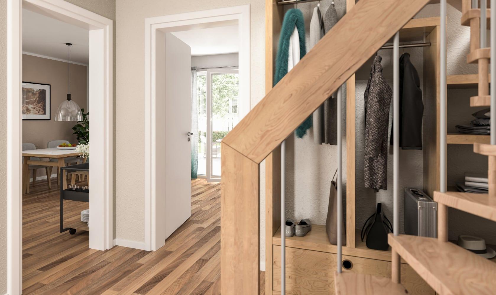 Diele mit Treppe & Garderobe - Stadtvilla Inneneinrichtung Ideen STADTHAUS 100 Town & Country Haus - HausbauDirekt.de