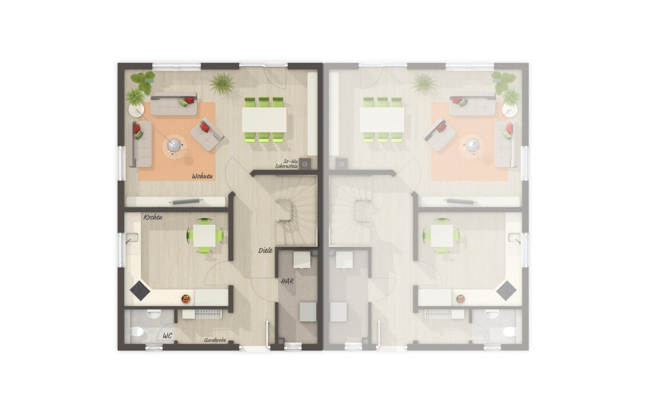 Doppelhaus Grundriss Erdgeschoss, 4 Zimmer, 113 qm - Town Country Massivhaus BEHRINGEN 116 - HausbauDirekt.de