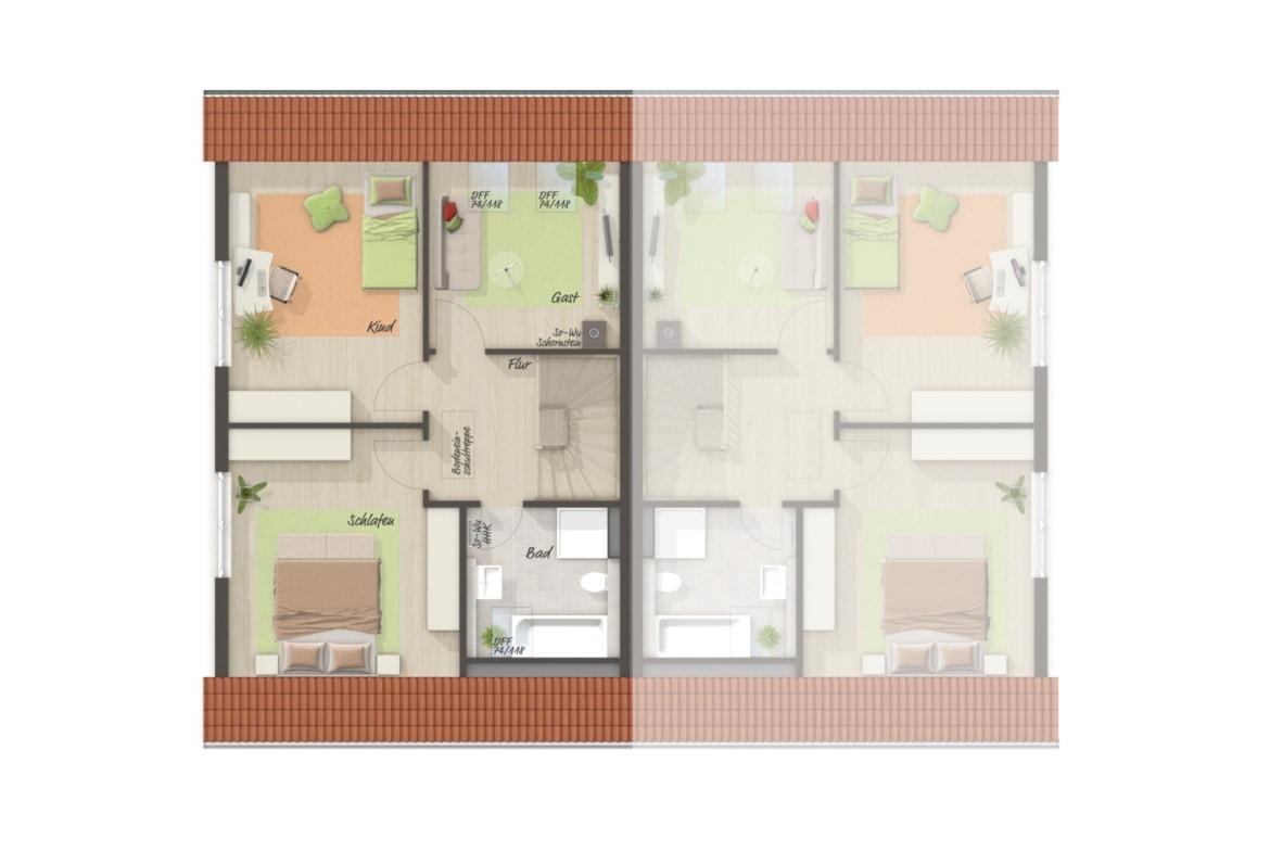 Doppelhaus Grundriss Obergeschoss, 4 Zimmer, 113 qm - Town Country Massivhaus BEHRINGEN 116 - HausbauDirekt.de