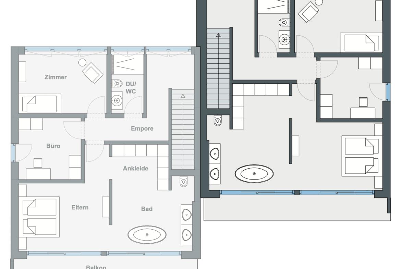 Grundriss Doppelhaushälfte Obergeschoss modern, gerade Treppe & Flachdach -Versetztes Doppelhaus WeberHaus Fertighaus - HausbauDirekt.de