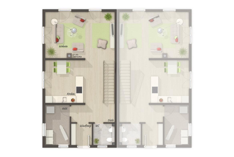 Doppelhaus Grundriss schmal Erdgeschoss offen & gerade Treppe, 4 Zimmer, 125 qm - Doppelhaushälfte massiv bauen Ideen Town Country Haus Aura 125 - HausbauDirekt.de