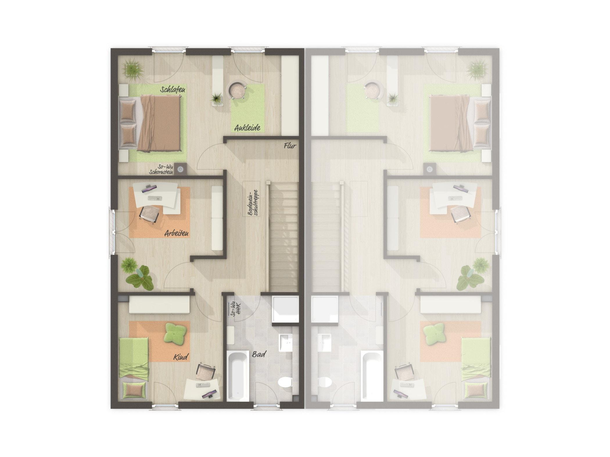 Doppelhaus Grundriss schmal Obergeschoss gerade Treppe & Satteldach, 4 Zimmer, 125 qm - Doppelhaushälfte massiv bauen Ideen Town Country Haus Aura 125 - HausbauDirekt.de