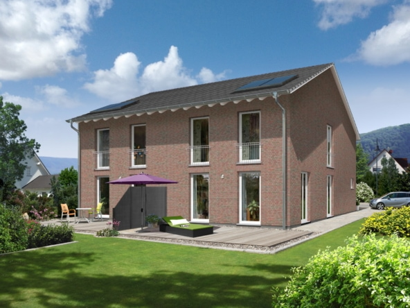 Doppelhaus mit Satteldach Architektur & Klinker Fassade - Doppelhaushälfte massiv bauen Ideen Town Country Haus Aura 125 - HausbauDirekt.de