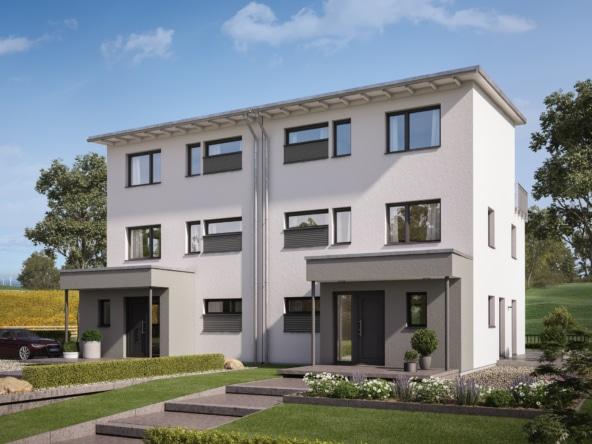 Großes Doppelhaus mit Pultdach, 3 Etagen, 5 Zimmer, 166 qm - Fertighaus Bien Zenker CELEBRATION 122 V5 XL - HausbauDirekt.de