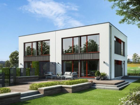 Doppelhaus modern mit Flachdach Architektur im Bauhausstil, 4 Zimmer Grundriss, 120 qm- Fertighaus Bien Zenker CELEBRATION 122 V6 L - HausbauDirekt.de