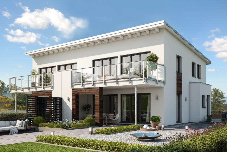 Doppelhaus modern mit Pultdach Architektur, 4 Zimmer Grundriss, 120 qm - Fertighaus Bien Zenker CELEBRATION 122 V4 L - HausbauDirekt.de
