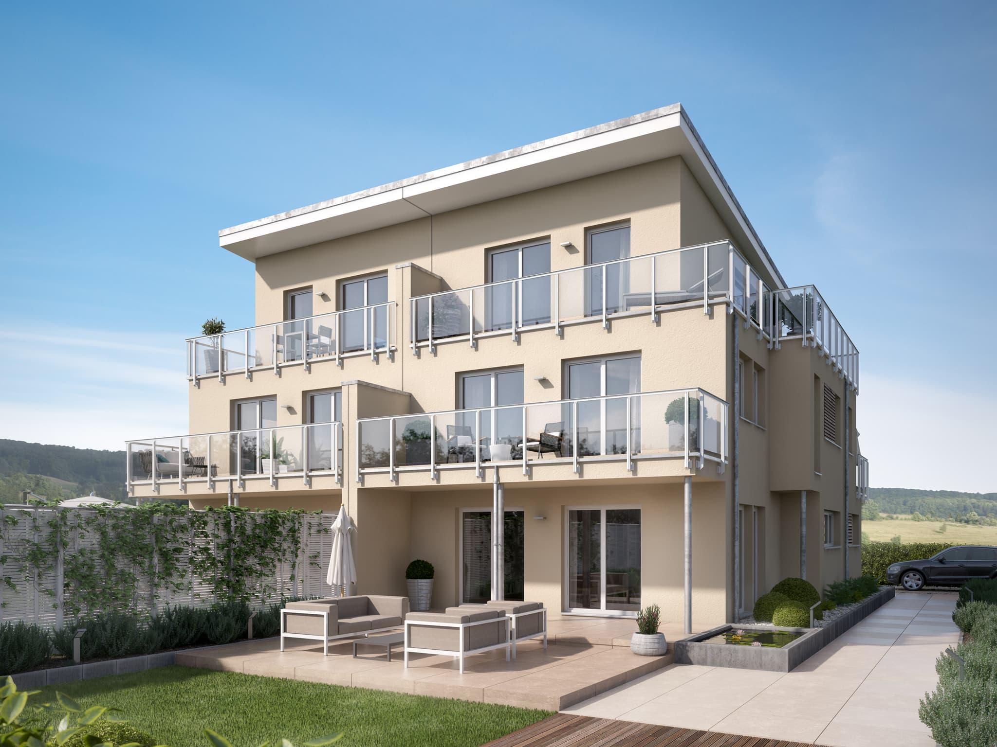 Modernes Doppelhaus mit Pultdach & Balkon, 6 Zimmer Grundriss, 190 qm - Fertighaus Bien Zenker CELEBRATION 139 V5 - HausbauDirekt.de